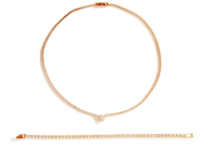 Set Pink Gold Tennis Solitaire 0