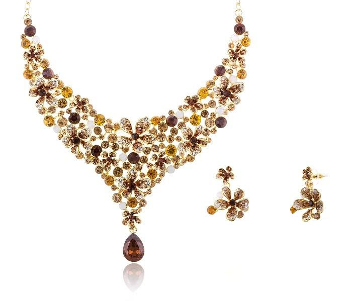 Amber Flowers Luxury Set colier cercei by Borealy [0]
