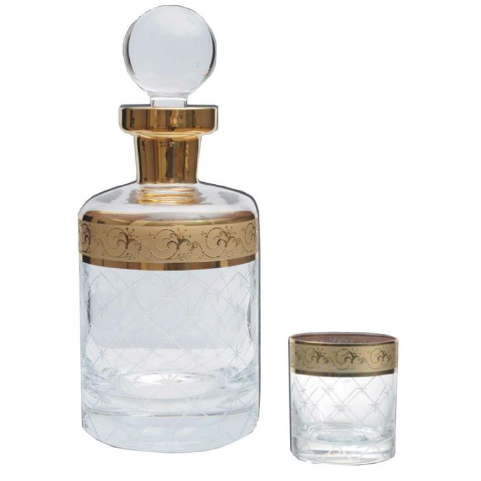 Set Whisky Cristal Aurit 6 pahare by Credan, made in Spain 2