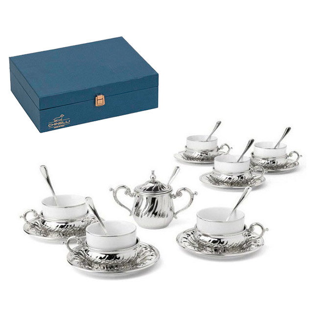 Silver Tea Set for Six by Chinelli - made in Italy 0