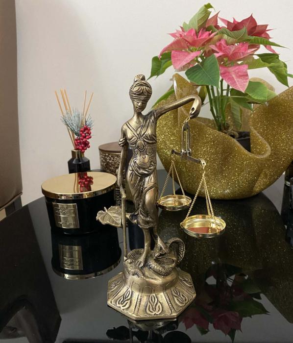 Statueta Zeita Justitiei, Bronz, 25 cm, Golden 2