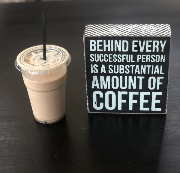 "Tablou motivational ,,BEHIND EVERY SUCCESSFUL PERSON IS A SUBSTANTIAL AMOUNT OF COFFEE"" 12 x 13 x 4 cm 1"