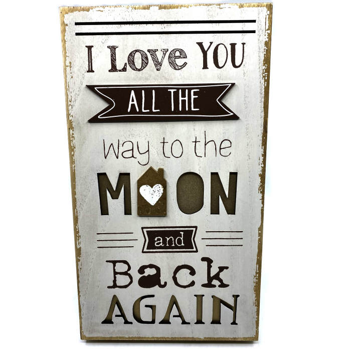 """Tablou motivational mare """"I Love YOU ALL THE way to the MOON and back AGAIN"""" 0"""