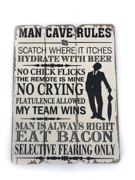 """Tablou motivational ,,MAN CAVE RULES"""" 20 x 28 cm 0"""