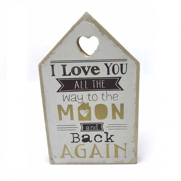 "Tablou motivational ""I Love YOU ALL THE way to the MOON and back AGAIN"" 11 x 18 cm 0"