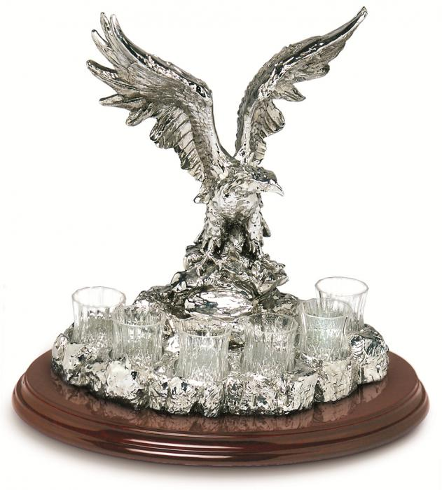 THE KING AQUILA Vodka Set Silver Plated by Chinelli [0]