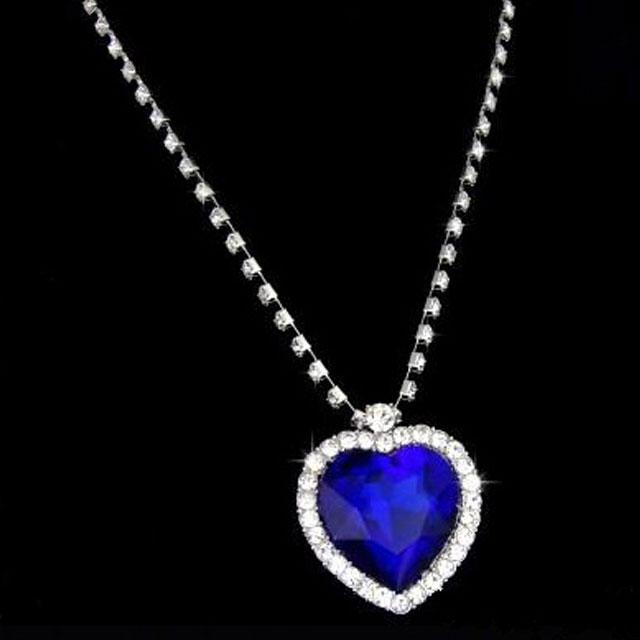 Colier Borealy Sapphire Titanic Heart of the Ocean-big