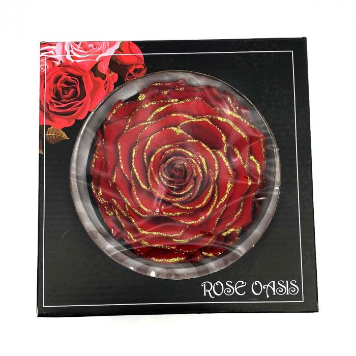 Trandafir Rosu & Auriu Criogenat XXL 9 cm [0]