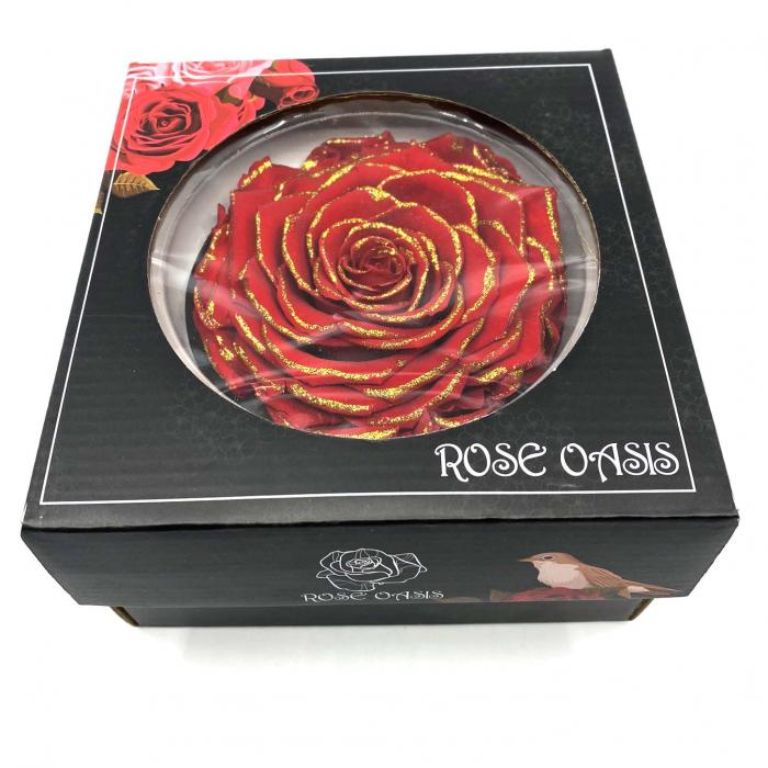 Trandafir Rosu & Auriu Criogenat XXL 9 cm [1]