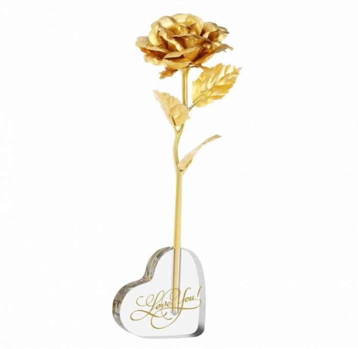 Trandafir Aur 24k & Suport Inima 0