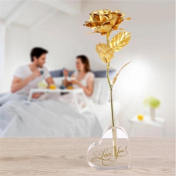 Trandafir Aur 24k & Suport Inima 1