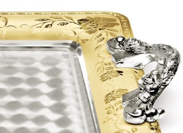 Tava VASSOIO cu maner, placata cu argint si aur galben 45 x 32 cm by Chinelli, made in Italy 1