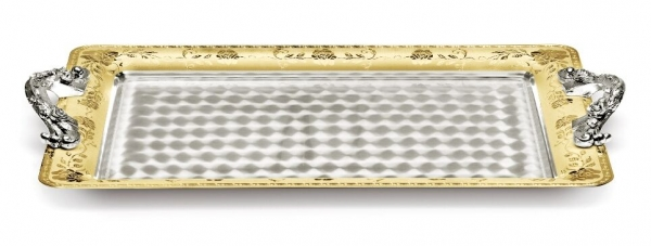 Tava VASSOIO cu maner, placata cu argint si aur galben 45 x 32 cm by Chinelli, made in Italy 0