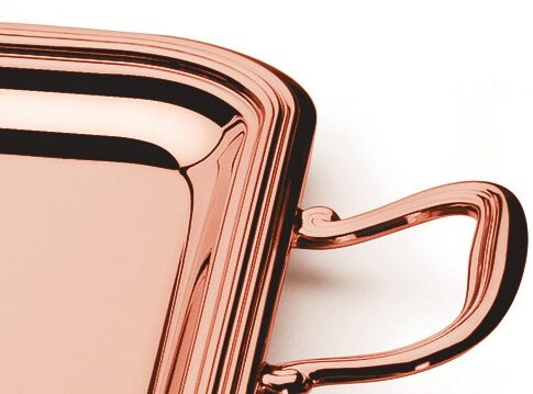 Tava VASSOIO RETTANGOLARE 35X27 GOLD ROSE placata cu aur roz by Chinelli, made in Italy-big