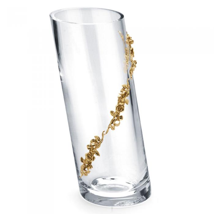 Vaza Cristal Oblique Gold Plated by Chinelli - Made in Italy 0