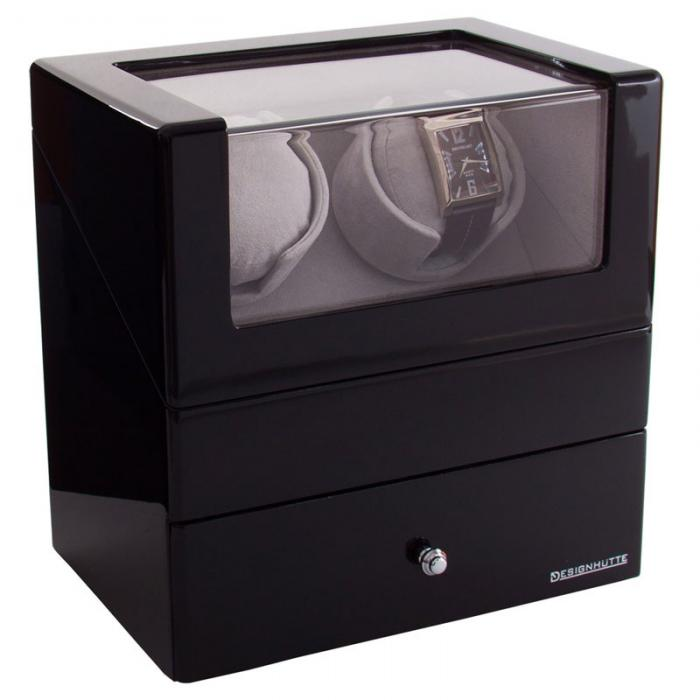 Watch Winder San Diego 2 Black by Designhütte – Made in Germany - personalizabil-big