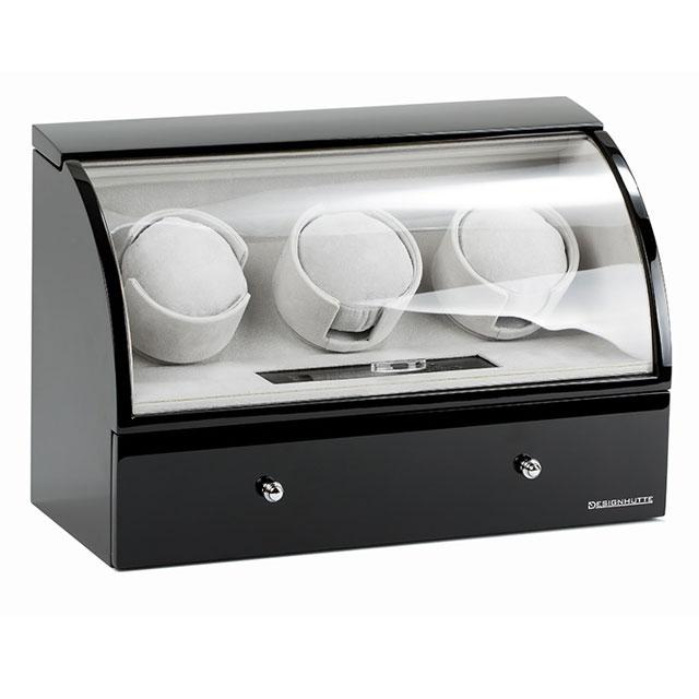 Watch Winder Basel 3 BLACK by Designhütte - Made in Germany-big