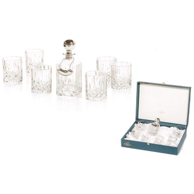 Whisky Set With Crystal Bottle Silver by Chinelli-big