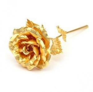 Cadou Gold Lady Sampanie cu foita de aur si Trandafir Aur2
