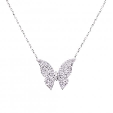 Colier fluture aur alb 18k cu diamante naturale