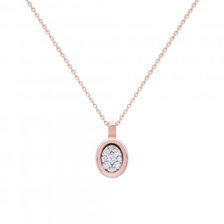 Colier din aur rose de 18k cu diamante naturale