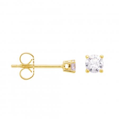 Cercei aur galben 18k cu diamante naturale