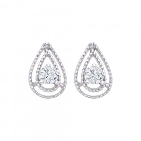 Cercei aur alb 18k cu diamante naturale