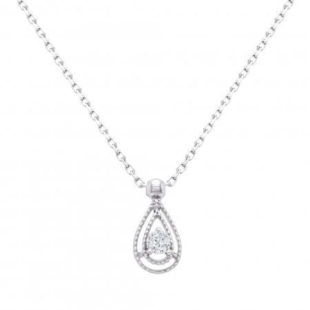 Colier din aur alb de 18k cu diamant natural