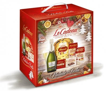 Cos de Craciun Natale in Festa, Panettone - 5 piese, made in Italy1