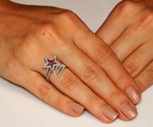 Inel Borealy Argint 925 Rubin Star Marimea 62