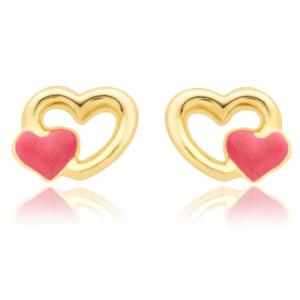 Cercei pentru Copii Borealy Aur Galben 9 K Double Heart0
