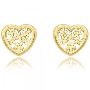 Cercei Borealy Aur Galben 9 K Flowers Heart Cadou Valentine's Day