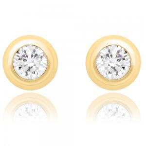 Cercei pentru Copii Borealy Aur Galben 9 K Doughnut White Crystal0