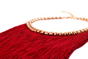 Colier si Cercei Statement Borealy Tassel Electric Red1
