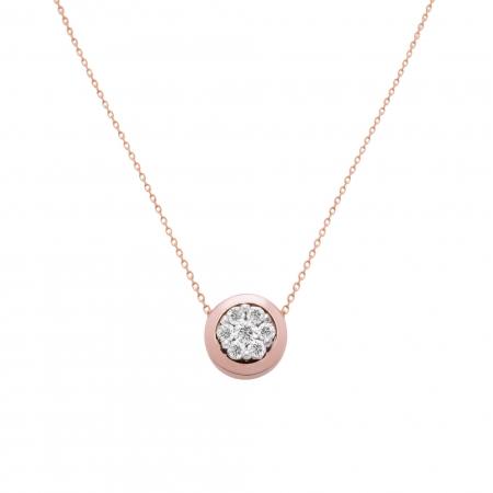 Colier aur rose 18k cu diamante naturale