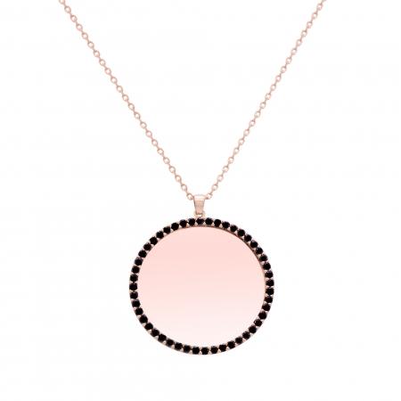 Colier din aur rose de 18K si diamante negre cu oglinda