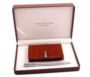 Brown Cardholder & Silver Pen by Jos von Arx