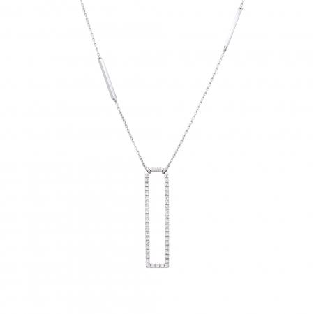 Colier aur alb 18K cu diamante naturale