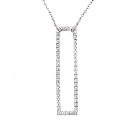 Colier aur alb 18K cu diamante naturale1
