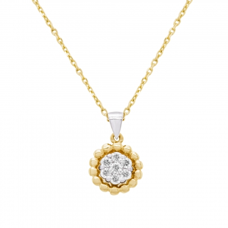 Colier din aur galben si alb 18k cu diamante naturale