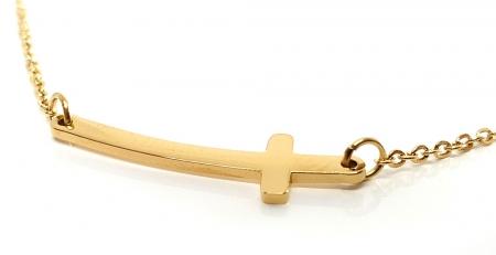 Lant Double Cross Placat cu Aur Galben2