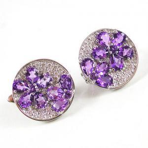 Cercei Flower Ametist Luxury - pietre pretioase naturale0