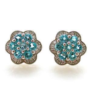 Cercei Topaz Blue Mini Flower pietre pretioase naturale0