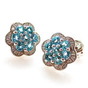 Cercei Topaz Blue Mini Flower pietre pretioase naturale1