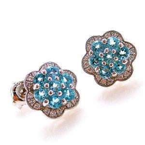 Cercei Topaz Blue Mini Flower pietre pretioase naturale2