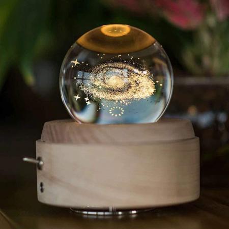 Lampa Cristal Calea Lactee 3D Rotativa si Muzicala0