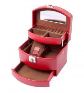 Cutie Bijuterii Intense Red piele naturala By Friedrich – Made in Germany - personalizabil0