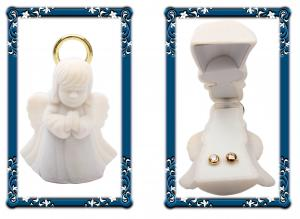 Cercei pentru Copii Borealy Aur Galben 9 K Doughnut White Crystal2