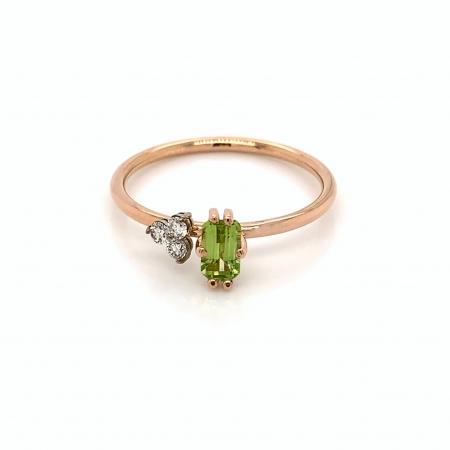 Inel Amaya aur rose 14K cu diamante si peridot
