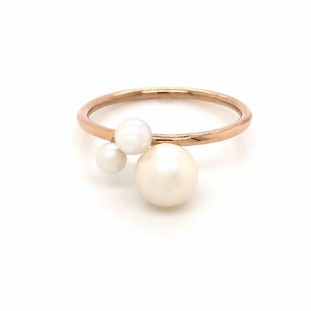 Inel Amina aur rose 14K cu perle naturale